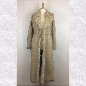 Vintage Leather Faux Fur Penny Lane Long Coat